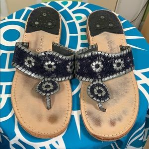 Jack Rogers sandals navy blue silver leather 9